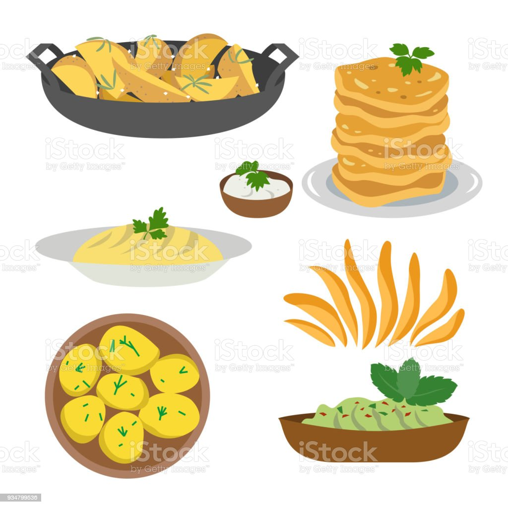Icon set of dishes of potatoes on white background. vector art illustration