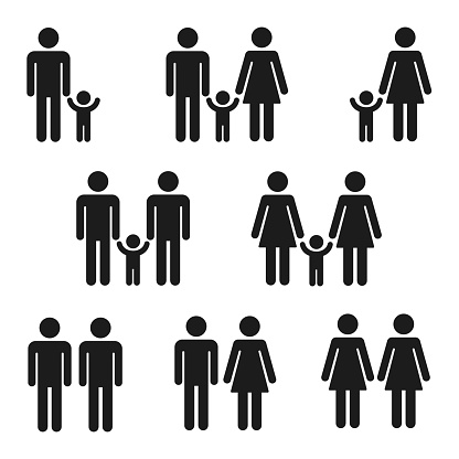 Icon set of families clipart