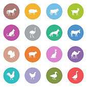 Icon Set of Farm Animals