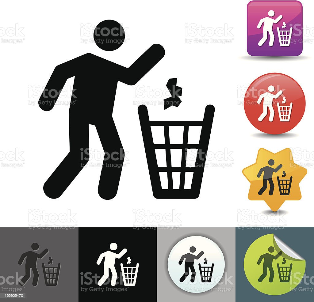 Icon set of figure throwing trash into garbage can vector art illustration