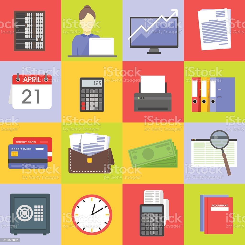 Icono Conjunto de los servicios financieros - ilustración de arte vectorial