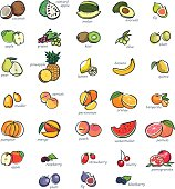 Colorful icon set of hand drawn fruits