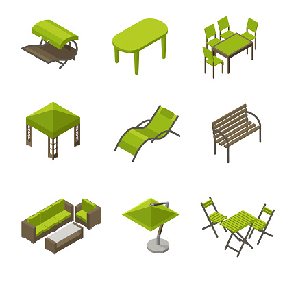 Awesome Icon Set Of Garden Furniture In Isometric Style Stock Dailytribune Chair Design For Home Dailytribuneorg