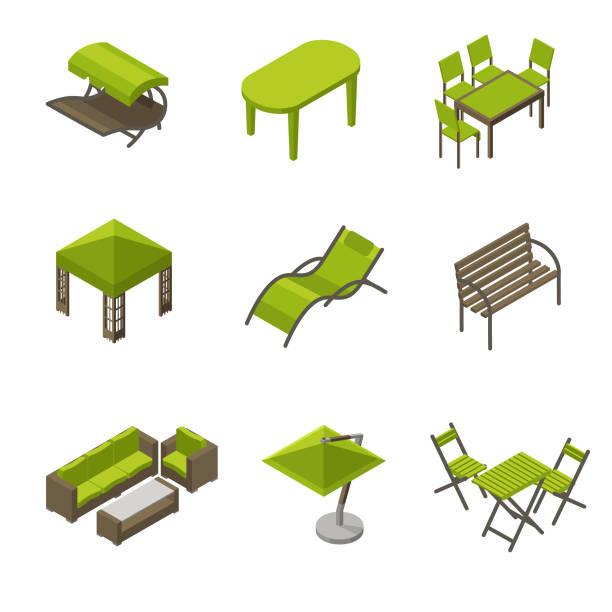 symbolsatz gartenmöbel in isometrische stil - gartensofa stock-grafiken, -clipart, -cartoons und -symbole