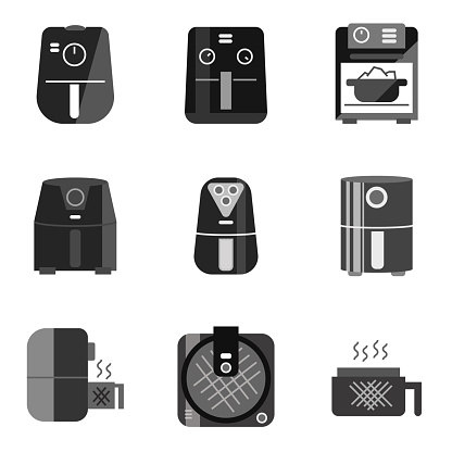 Icon set of healthy cooking technology fryer, Air fryer icon with many design shape when fry within air fryer will fry without oil then make life better.