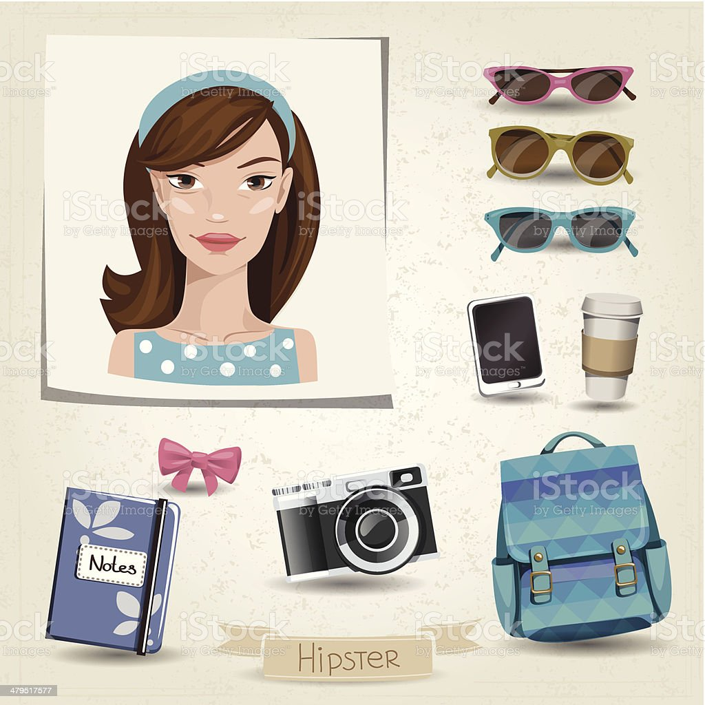 Icon set of hipster girl with her accessories royalty-free stock vector art