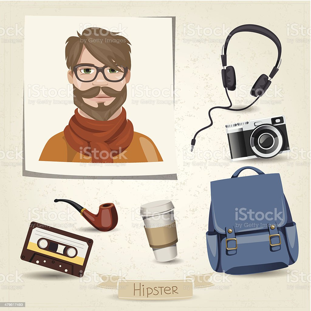 Icon set of hipster man with her accessories vector art illustration