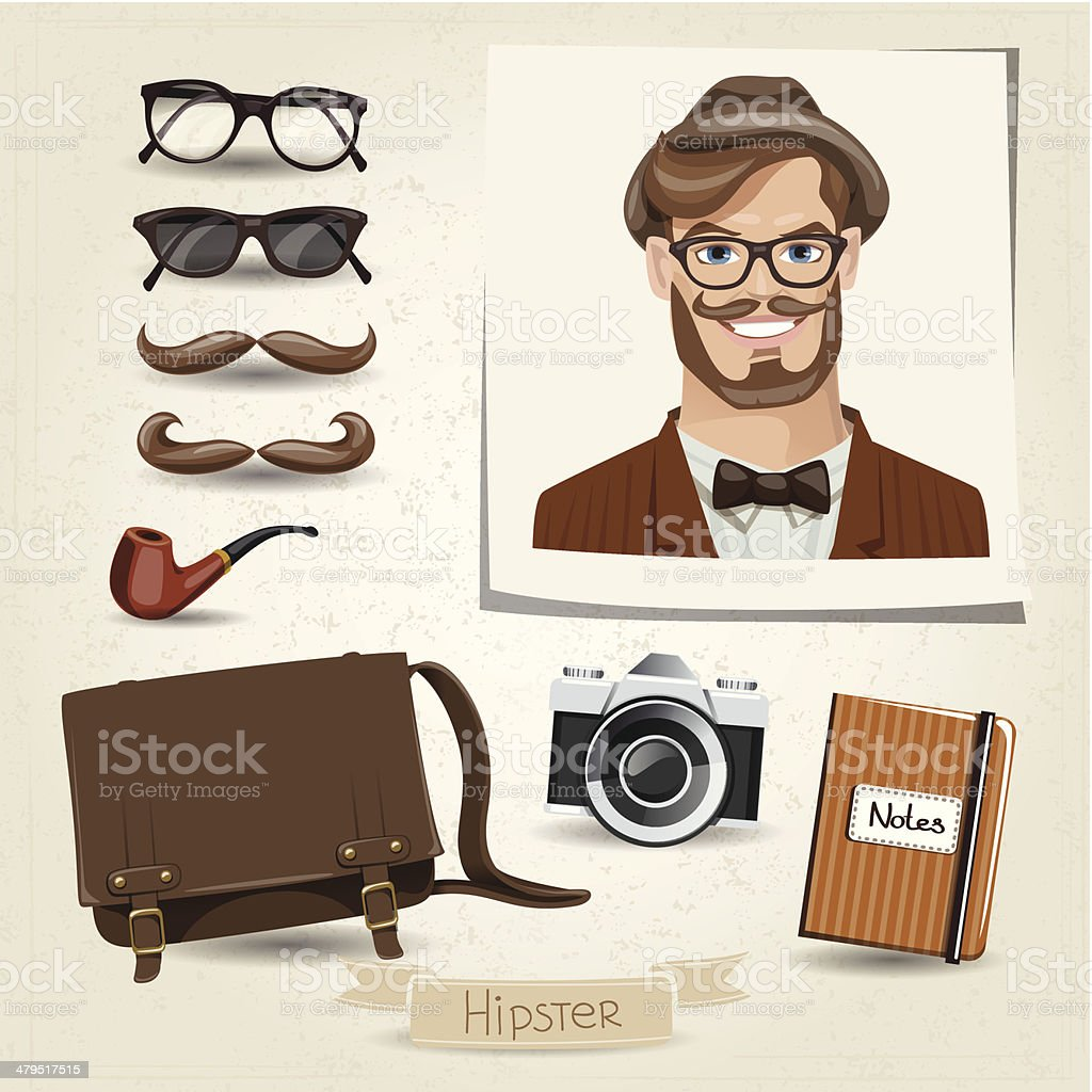 Icon set of hipster man with her accessories royalty-free stock vector art