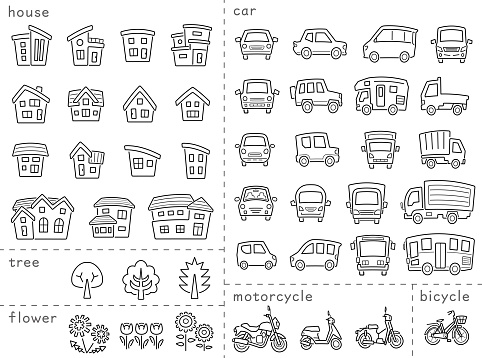 icon set of house and car and bike and plant - only line with the gap,line is Stroke - arc upper and classification version