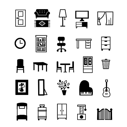Icon set of household items