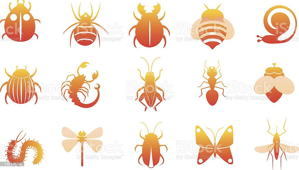 icon set of insects royalty-free icon set of insects stock vector art & more images of animal