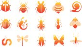icon set of insects isolated on wihte