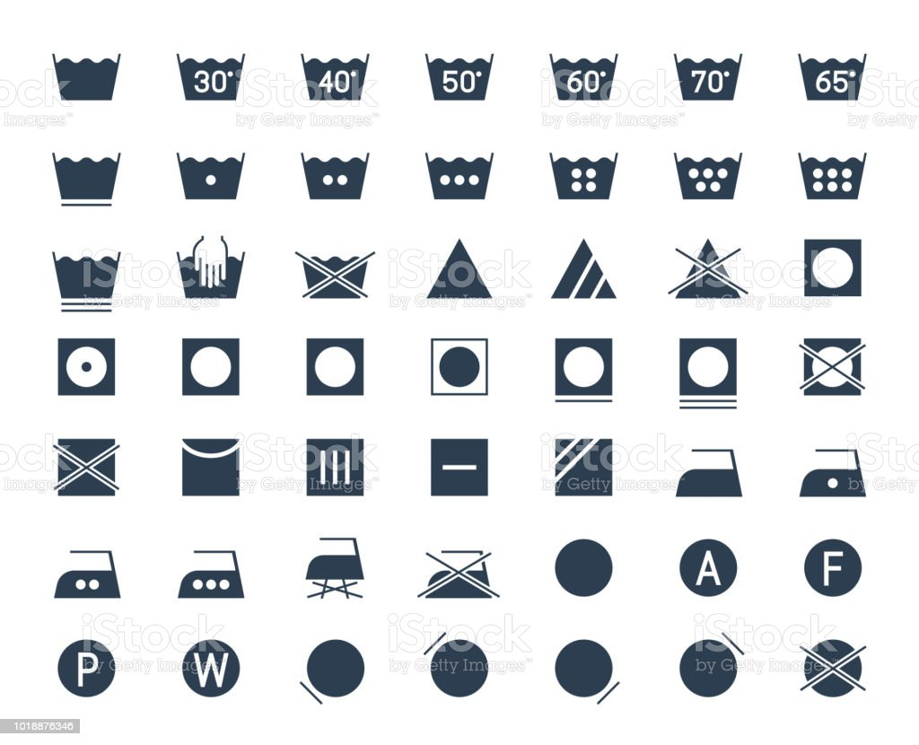 Icon Set Of Laundry And Textile Care Symbols And Signs Stock Vector