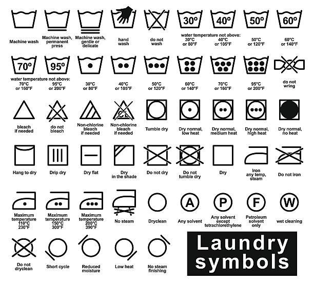 아이콘 세트마다 세탁 기호들 - 상징 stock illustrations