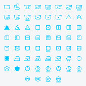 Icon set of laundry, washing symbols