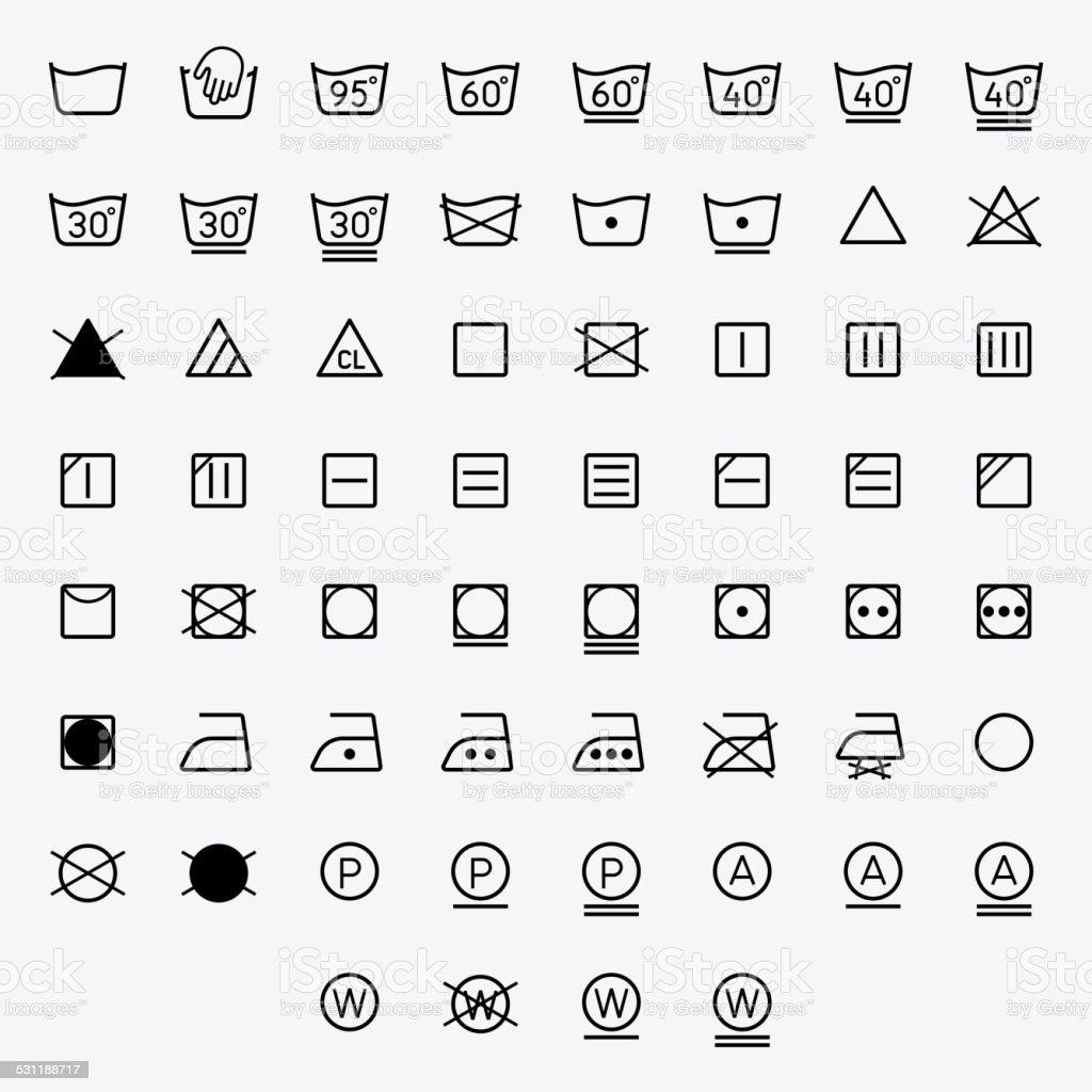 Icon set of laundry, washing symbols