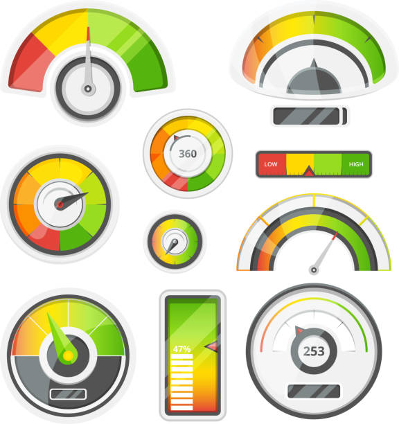 Icon set of level meters, tachometer and battery level. Vector pictures set vector art illustration