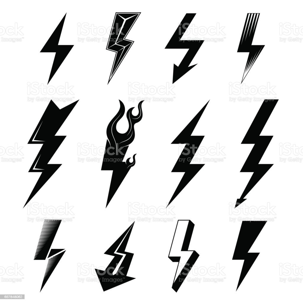 Icon set of lightnings in black-and-white colors vector art illustration