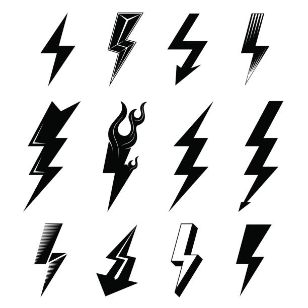 icon set of lightnings in black-and-white colors - lightning stock illustrations