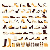 Silhouette vector icon set of men's  and of women's shoes fashion  Footwear