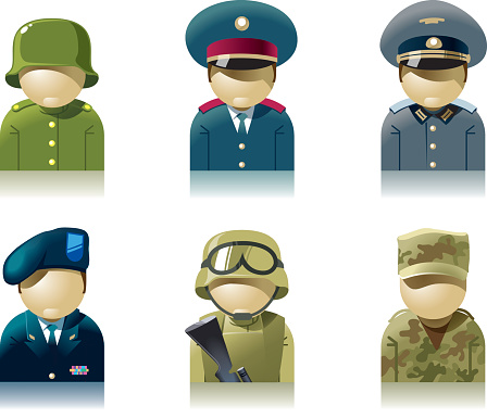 Icon set of military professions