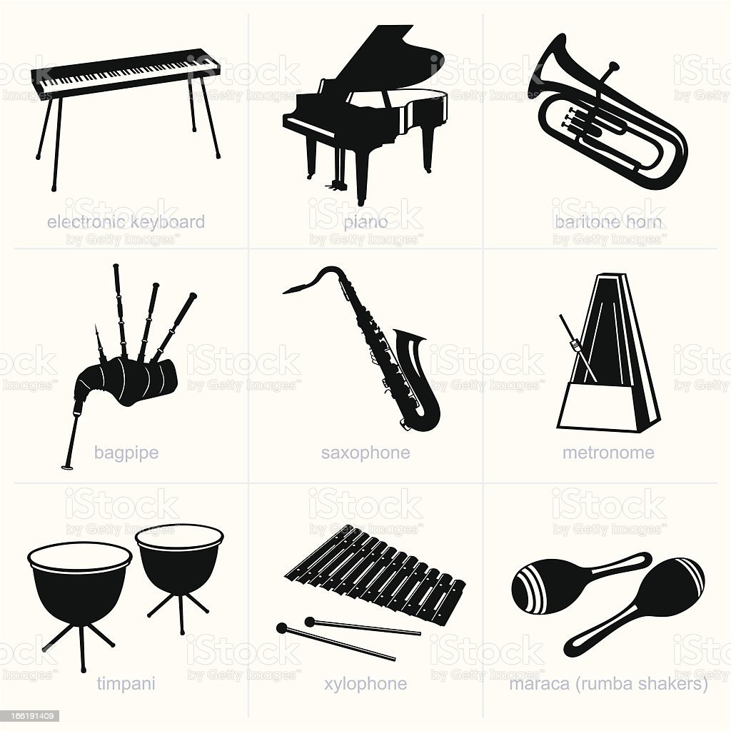 Icon set of musical instrument cards in black silhouette royalty-free stock vector art