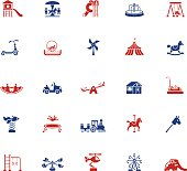 Icon set of playground related activities in blue and red