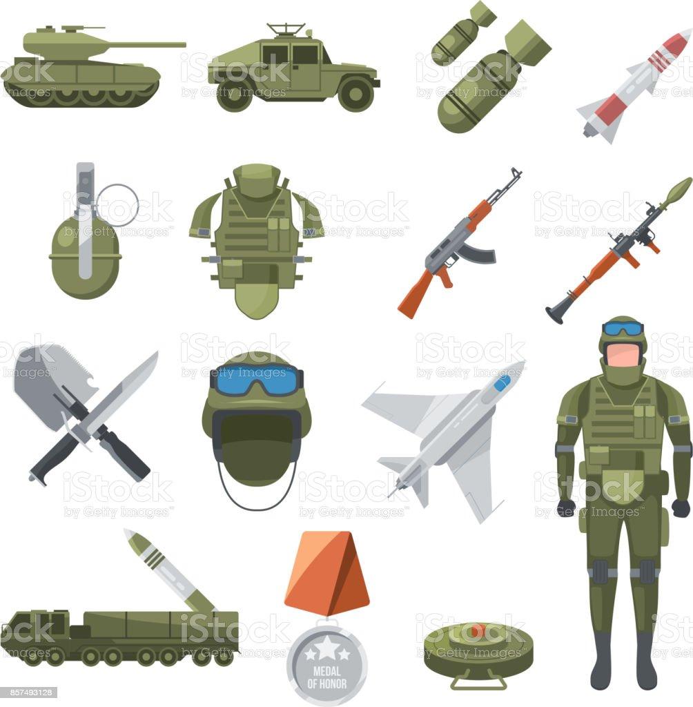 警察および軍隊のアイコンを設定します兵士とさまざまな武器のミリタリー