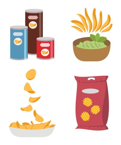 bildbanksillustrationer, clip art samt tecknat material och ikoner med ikonuppsättning med chips på vit bakgrund. - potatischips