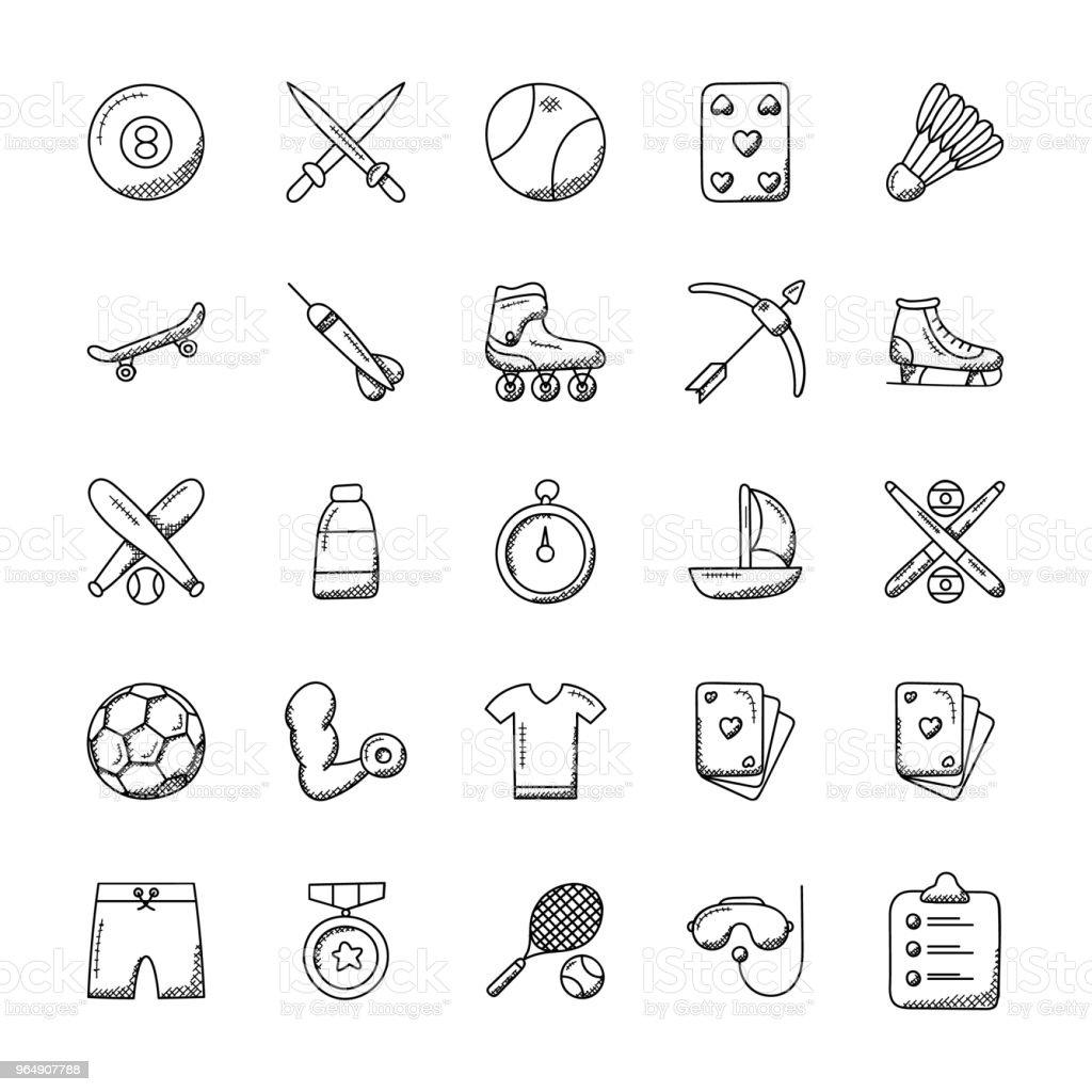 100 Icon Set Of Sports vector art illustration