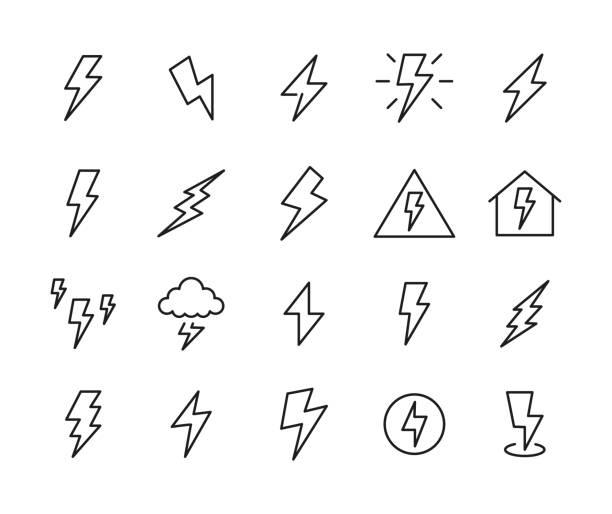천둥의 아이콘 세트입니다. - lightning stock illustrations