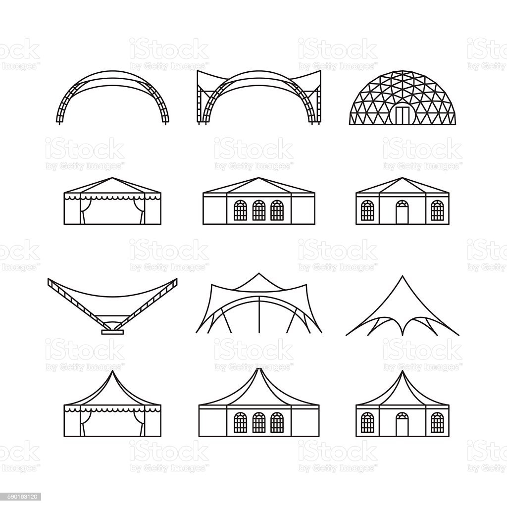 Icon set of various types event tent. vector art illustration