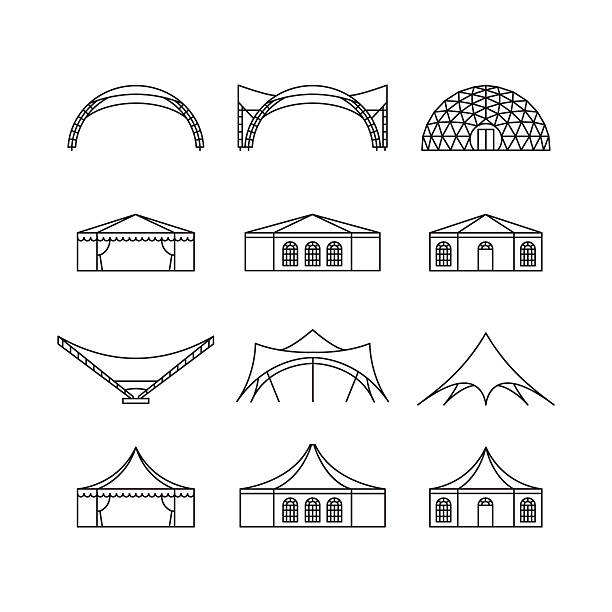 Icon set of various types event tent. Icon set of various types event tent. Folding tent, canvas roof, wedding tent, canopy. Vector illustration. pavilion stock illustrations