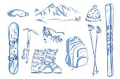 Icon set of winter objects: ski, crampons, snowboard. Hand drawn vector illustration.