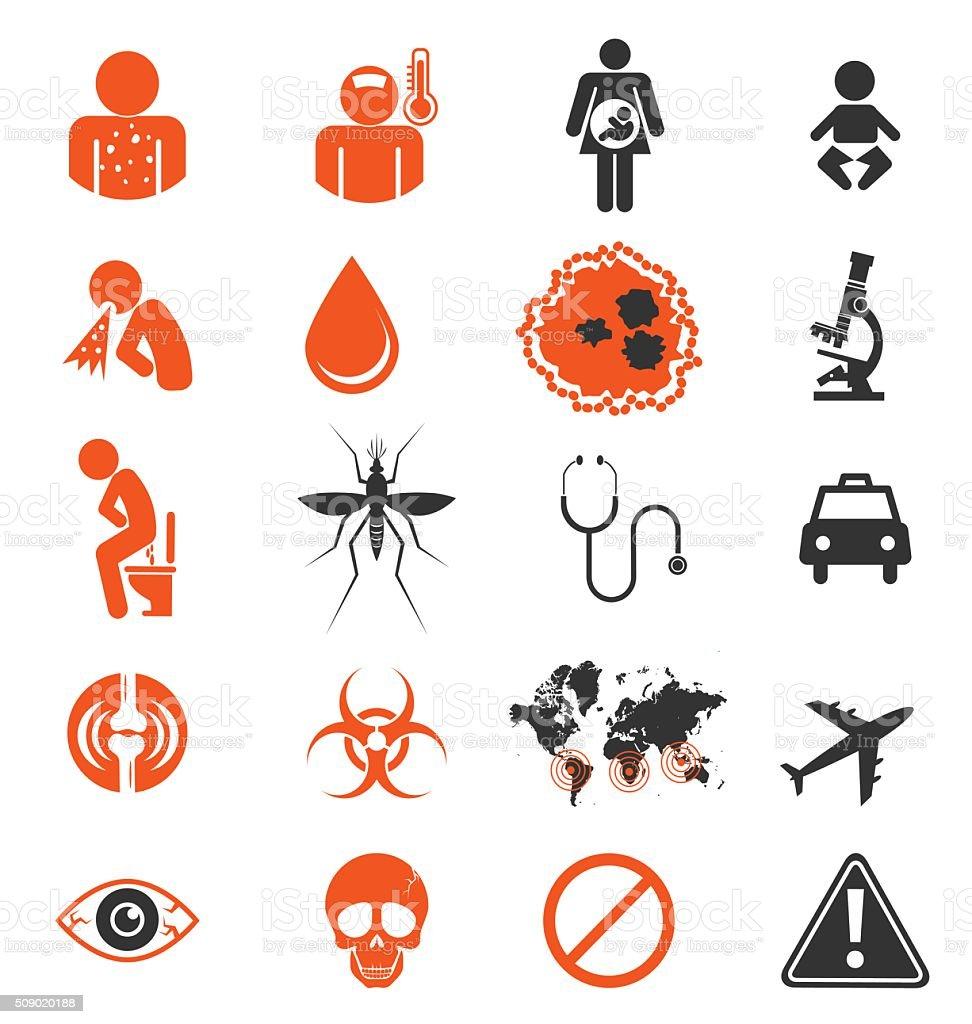 Icon set of Zika virus Infection vector art illustration