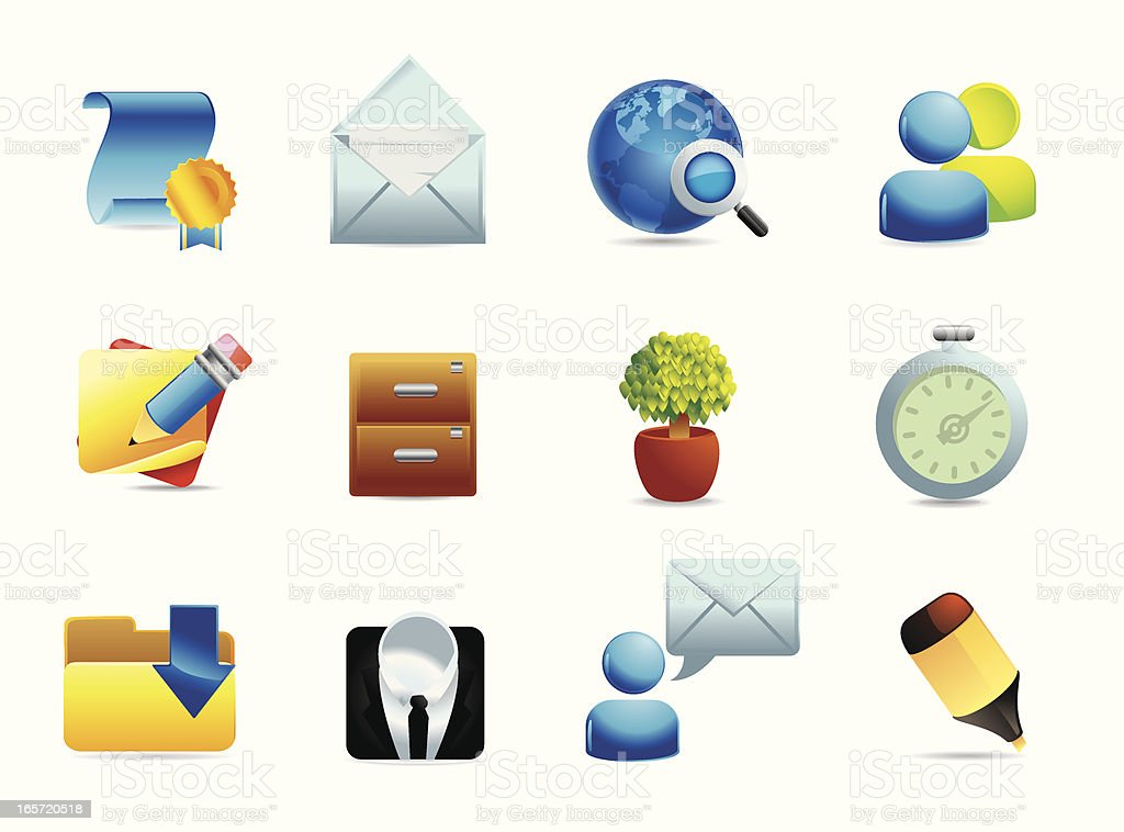 Icon Set Office and Business royalty-free stock vector art