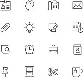 Icon Set, Office things on white background, made in adobe Illustrator (vector)