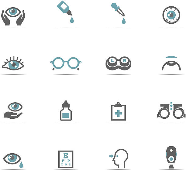Icono conjunto, Optometry - ilustración de arte vectorial