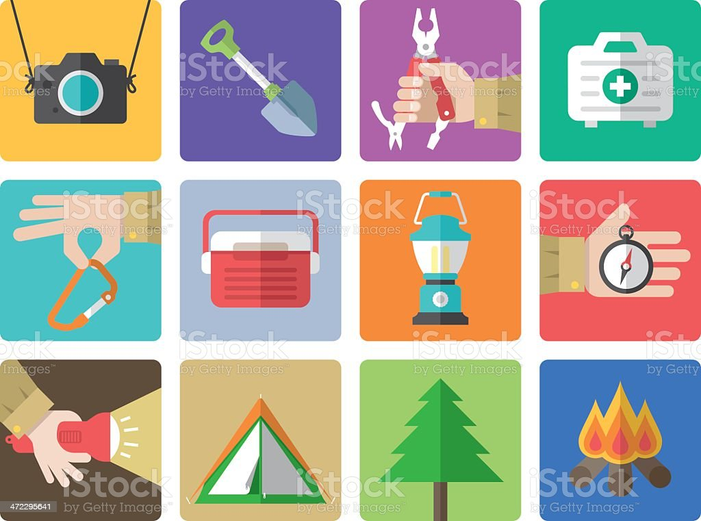 Icon set, Outdoor and Camping Color vector art illustration