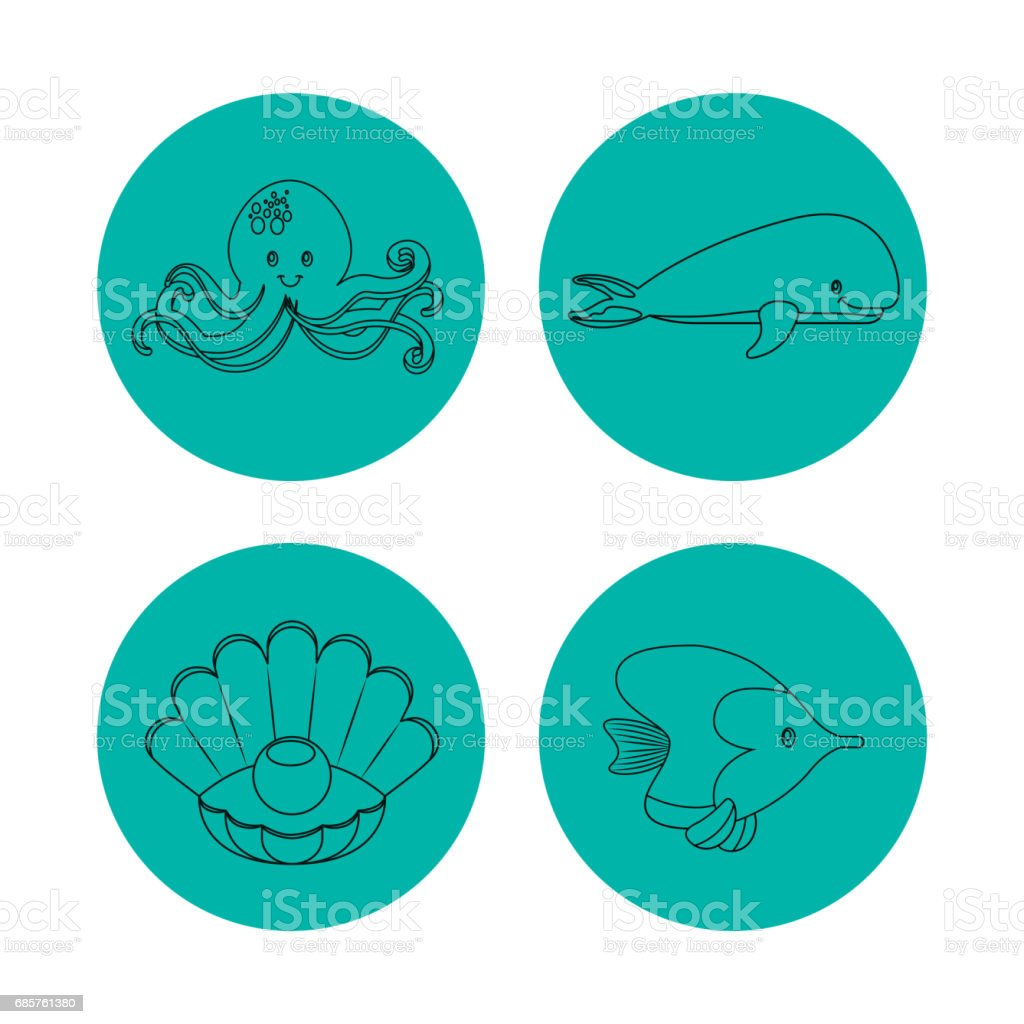 icon set over circles. Sea life design. Vector graphic ロイヤリティフリーicon set over circles sea life design vector graphic - アイコンセットのベクターアート素材や画像を多数ご用意