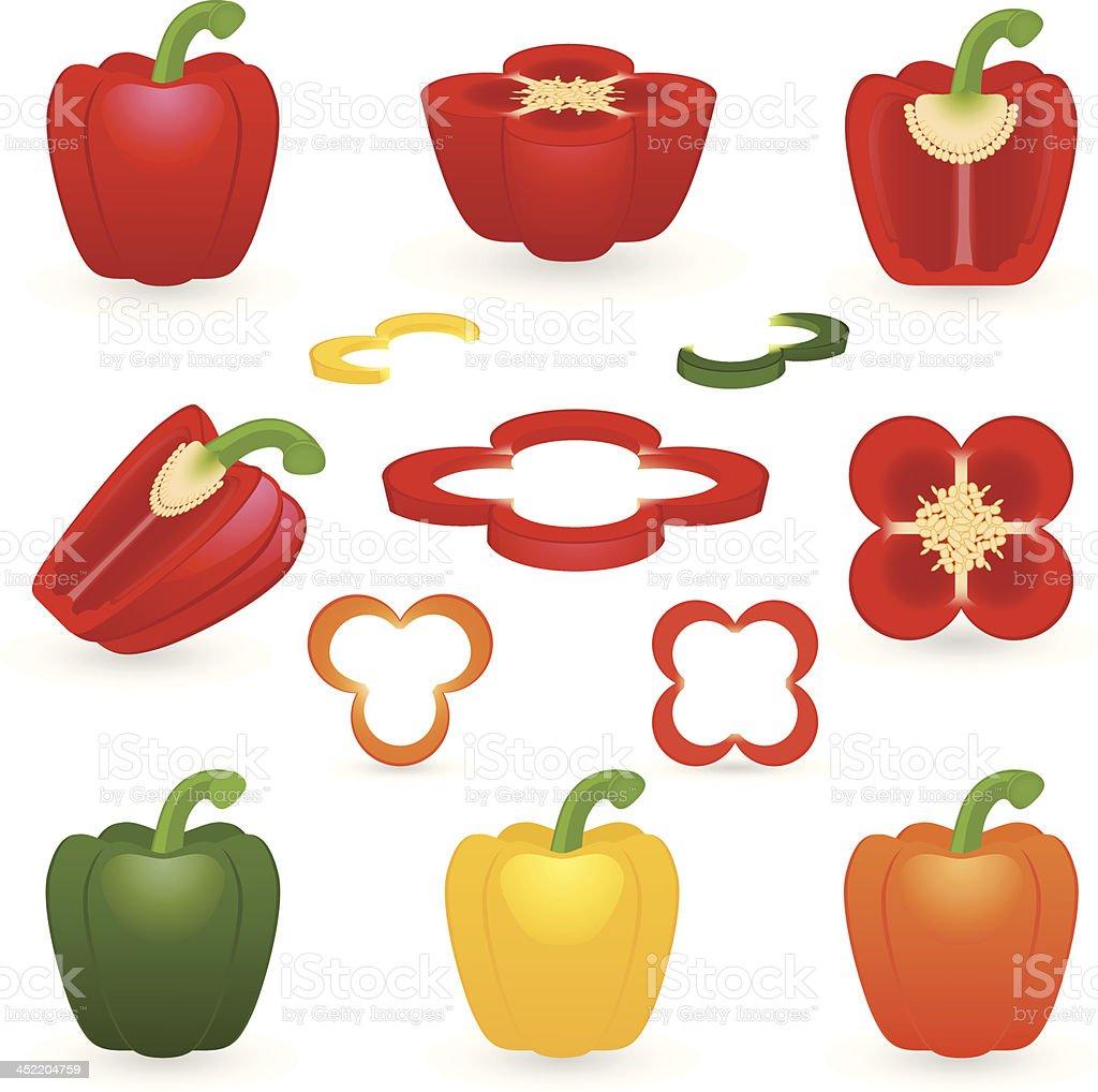 Icon set Pepper vector art illustration