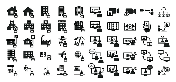 Icon set related to remote work