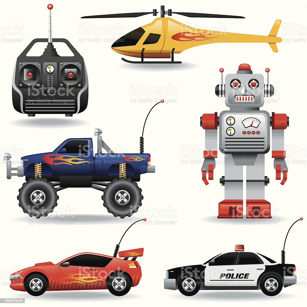 Icon set, Remote controlled toys vector art illustration