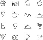 Icon Set, Restaurant items on white background, made in adobe Illustrator (vector)