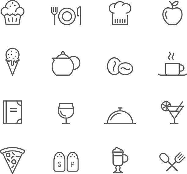 icon set, restaurant - fine dining stock illustrations, clip art, cartoons, & icons