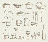 Icon set retro cooking utensils. Hand drawn cartoon doodle vector illustration.