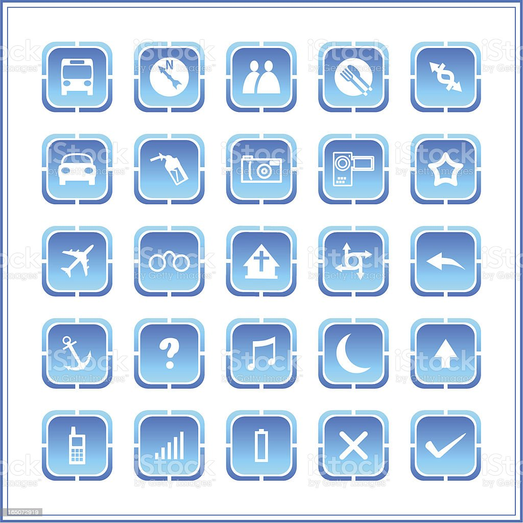 Icon set - round square series royalty-free stock vector art