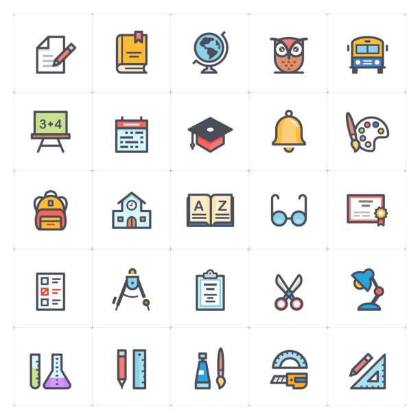 Icon set - school and education full color outline stroke vector illustration vector art illustration
