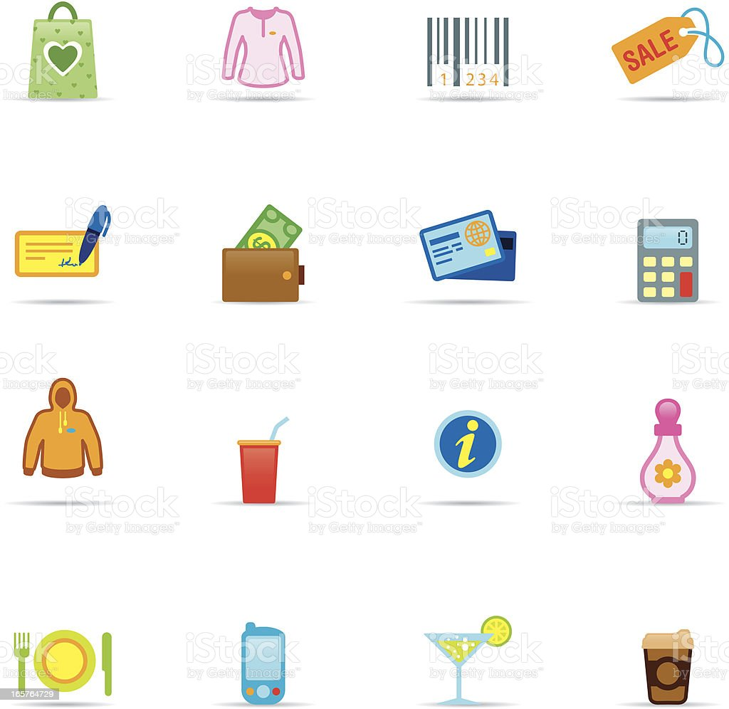 Icon Set, Shopping Mall Color royalty-free stock vector art