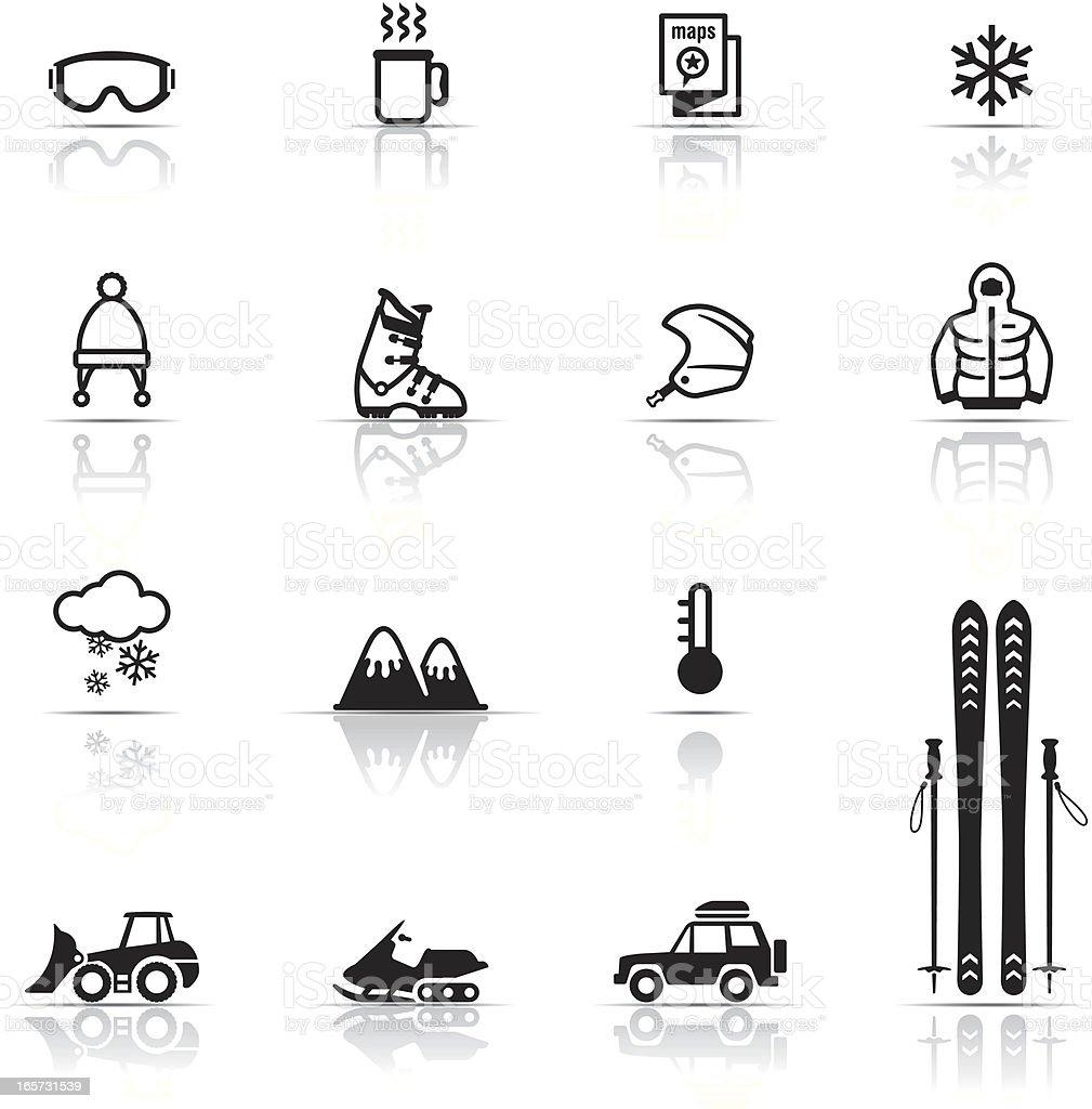 Icon Set, Skiing vector art illustration